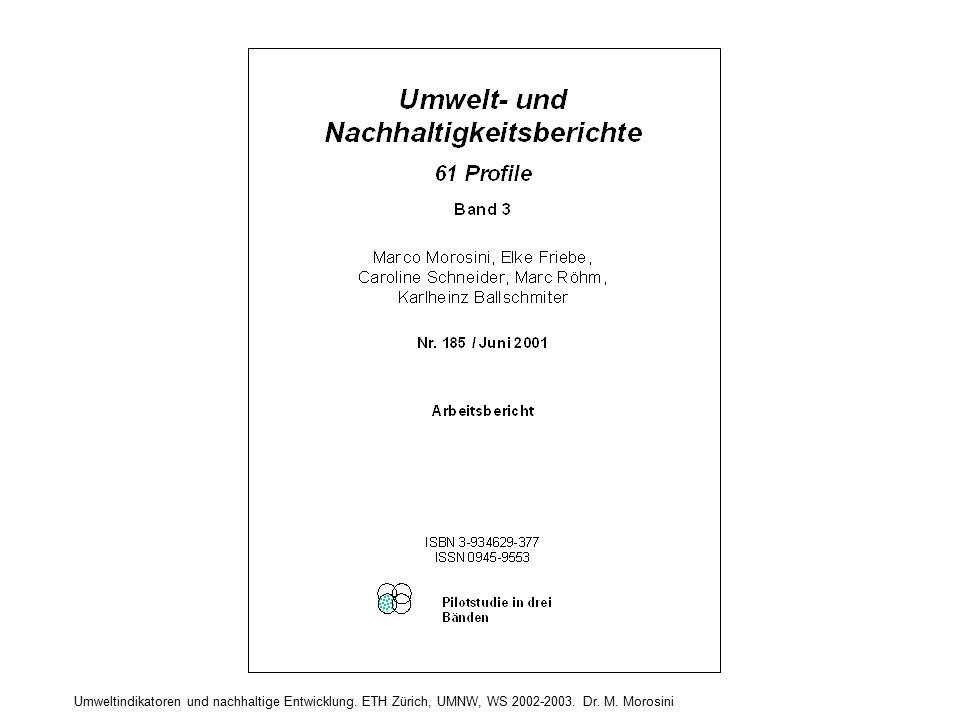 "TERMINOLOGIE: ""BERICHTE (in diesem Kontext) a) Indikatorenberichte mit Erläuterungstexten Z.B.: - OECD (1991-1994-1998) Environmental Indicators - UN 2001, Indicators of Sustainable Development - Eurostat 2001, Indicators of Sustainable Development - EEA (ab 2000, jährlich) Environmental Signals b) Thematische Text-Berichte (d.h."