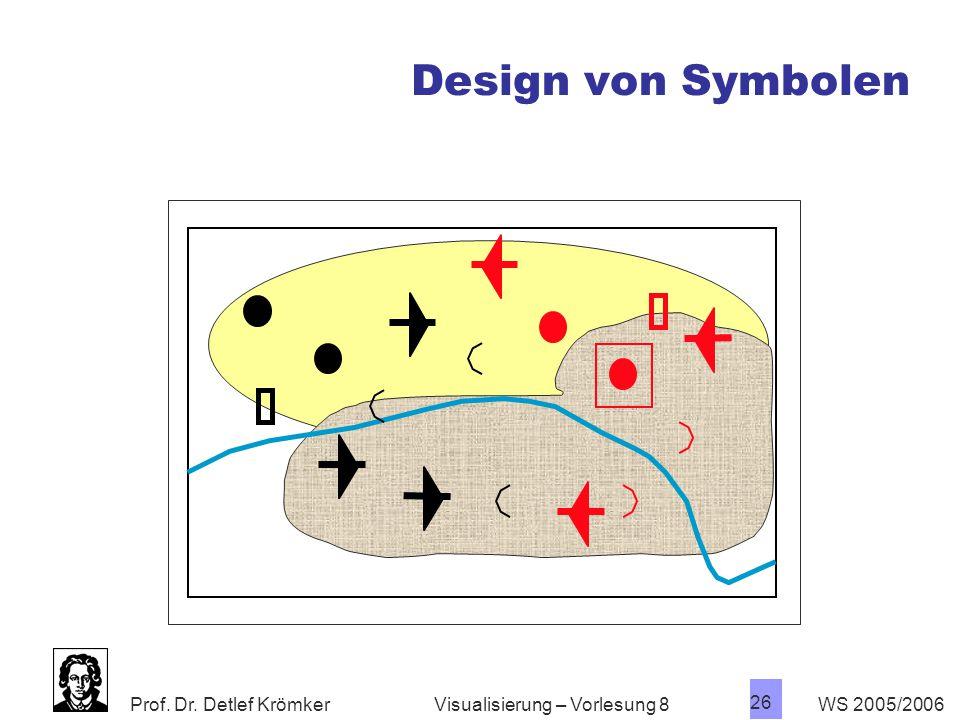 Prof. Dr. Detlef Krömker WS 2005/2006 25 Visualisierung – Vorlesung 8 Design von Symbolen