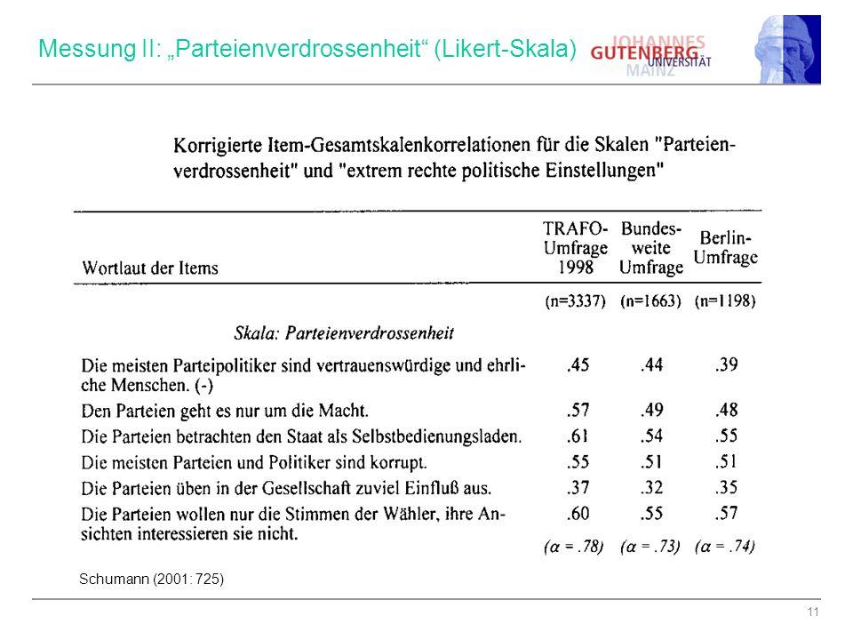 """11 Messung II: """"Parteienverdrossenheit"""" (Likert-Skala) Schumann (2001: 725)"""