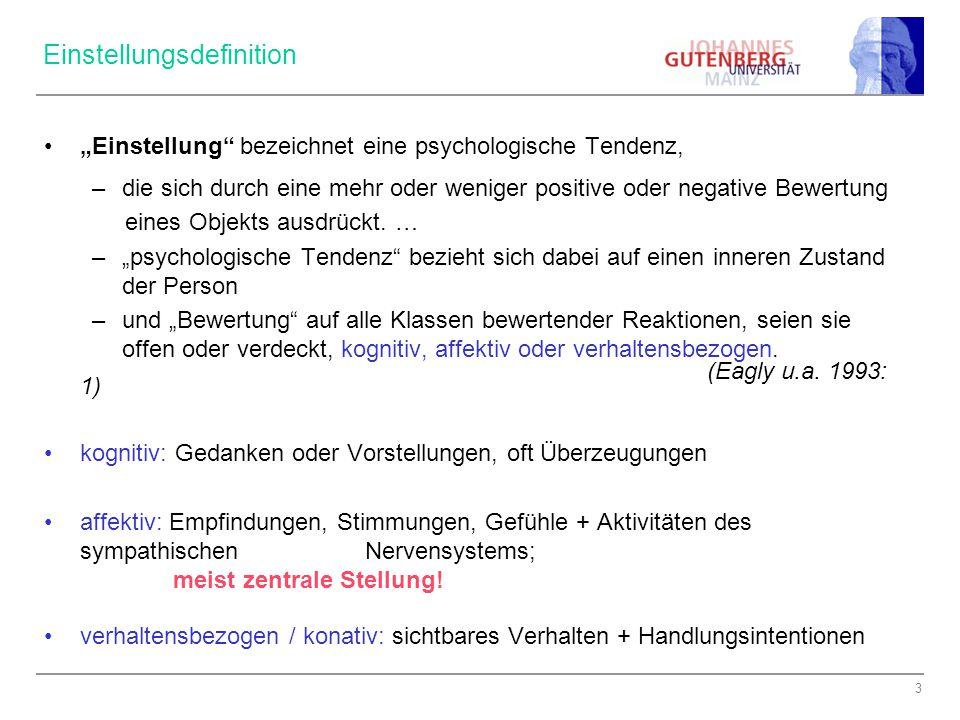 """3 Einstellungsdefinition """"Einstellung bezeichnet eine psychologische Tendenz, –die sich durch eine mehr oder weniger positive oder negative Bewertung eines Objekts ausdrückt."""