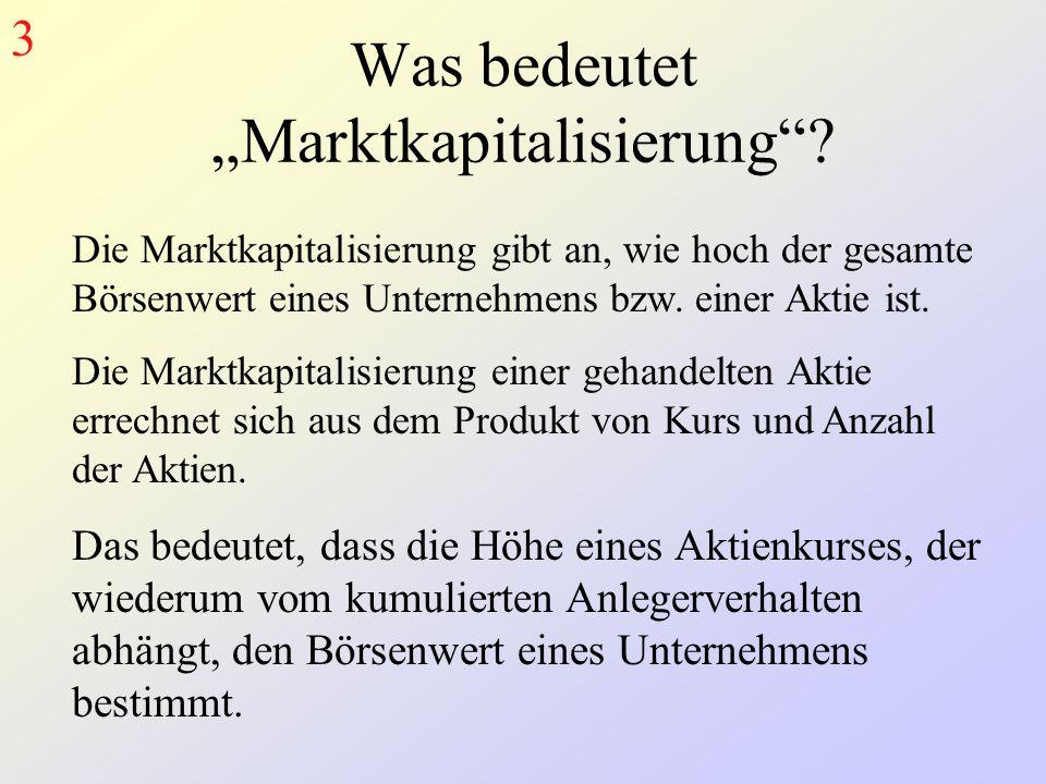 """Was bedeutet """"Marktkapitalisierung""""? Die Marktkapitalisierung gibt an, wie hoch der gesamte Börsenwert eines Unternehmens bzw. einer Aktie ist. Die Ma"""