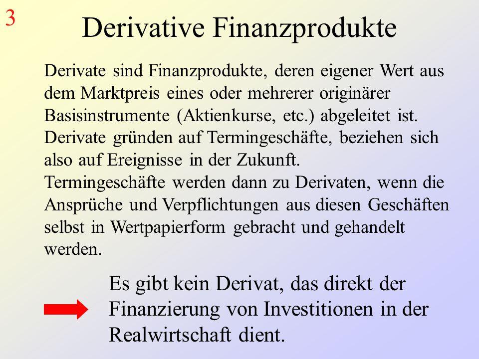 Derivative Finanzprodukte Derivate sind Finanzprodukte, deren eigener Wert aus dem Marktpreis eines oder mehrerer originärer Basisinstrumente (Aktienkurse, etc.) abgeleitet ist.