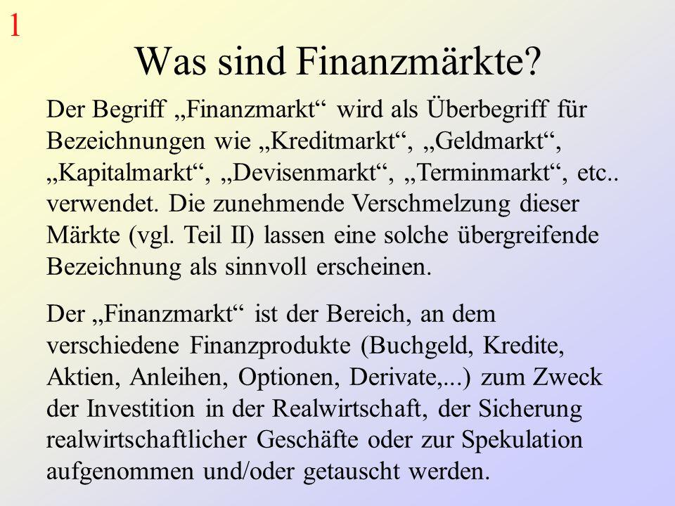 """Was sind Finanzmärkte? Der Begriff """"Finanzmarkt"""" wird als Überbegriff für Bezeichnungen wie """"Kreditmarkt"""", """"Geldmarkt"""", """"Kapitalmarkt"""", """"Devisenmarkt"""""""