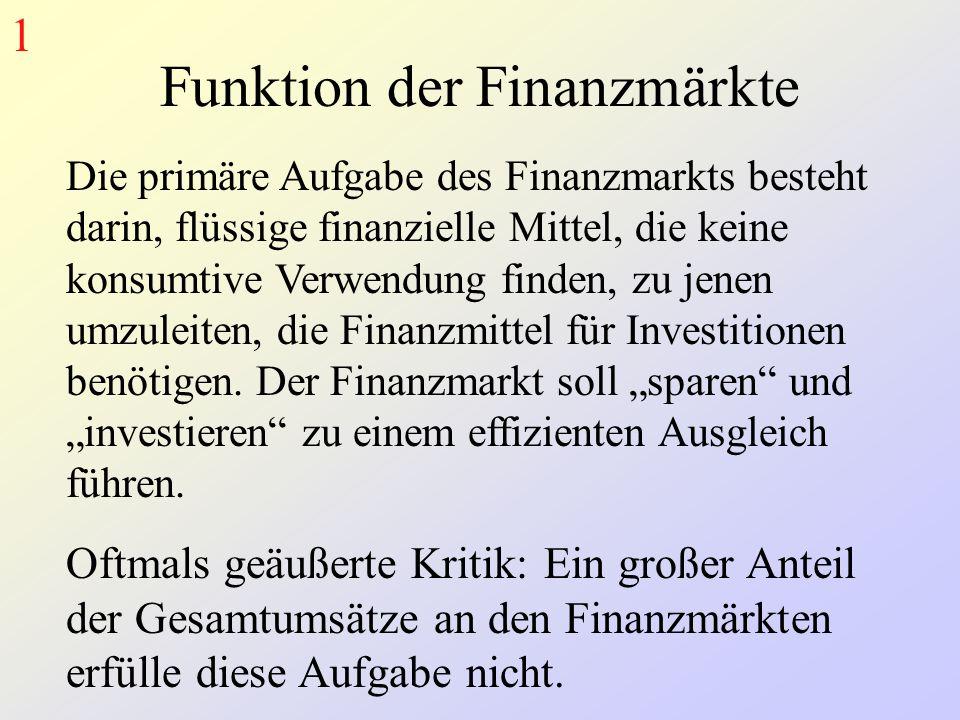 Funktion der Finanzmärkte Die primäre Aufgabe des Finanzmarkts besteht darin, flüssige finanzielle Mittel, die keine konsumtive Verwendung finden, zu jenen umzuleiten, die Finanzmittel für Investitionen benötigen.