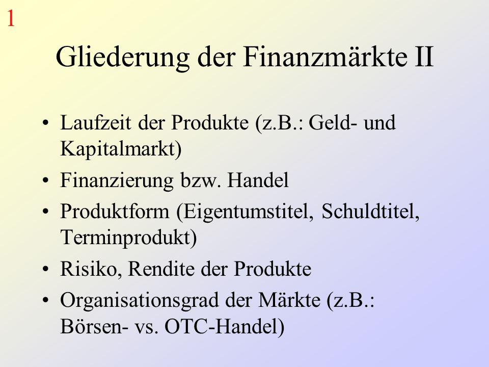 Gliederung der Finanzmärkte II Laufzeit der Produkte (z.B.: Geld- und Kapitalmarkt) Finanzierung bzw. Handel Produktform (Eigentumstitel, Schuldtitel,