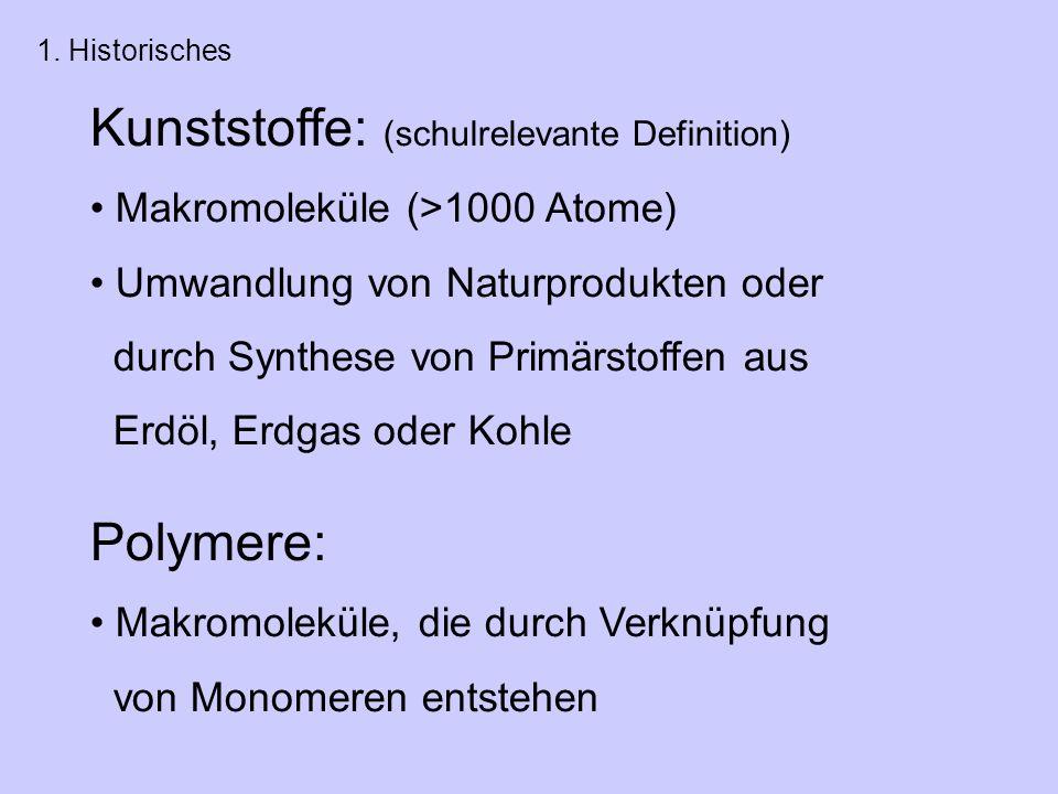 Kunststoffe: (schulrelevante Definition) Makromoleküle (>1000 Atome) Umwandlung von Naturprodukten oder durch Synthese von Primärstoffen aus Erdöl, Erdgas oder Kohle Polymere: Makromoleküle, die durch Verknüpfung von Monomeren entstehen 1.