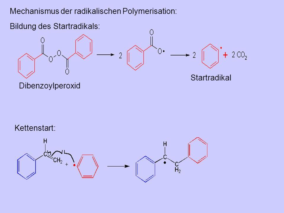 Dibenzoylperoxid Startradikal Bildung des Startradikals: Kettenstart: Mechanismus der radikalischen Polymerisation: