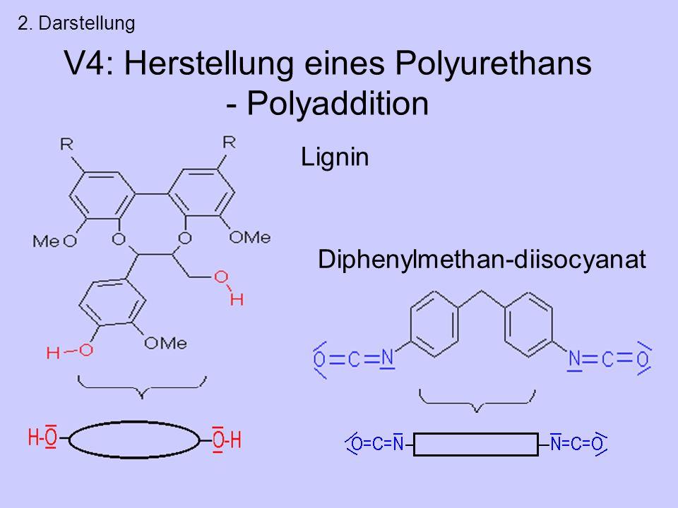 V4: Herstellung eines Polyurethans - Polyaddition 2. Darstellung Lignin Diphenylmethan-diisocyanat