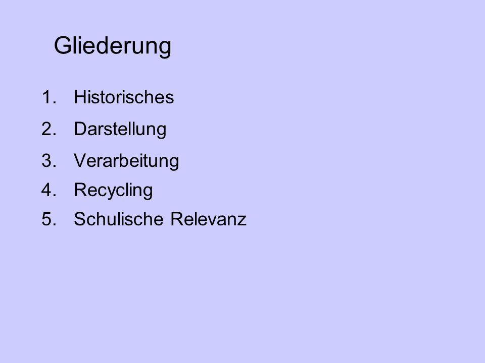 Gliederung 1.Historisches 2.Darstellung 3.Verarbeitung 4.Recycling 5.Schulische Relevanz