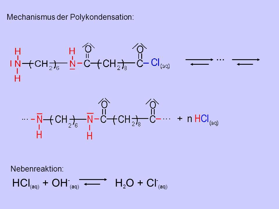 ... Mechanismus der Polykondensation: HCl (aq) + OH - (aq) H 2 O + Cl - (aq) Nebenreaktion: