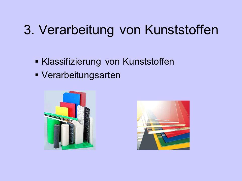3. Verarbeitung von Kunststoffen  Klassifizierung von Kunststoffen  Verarbeitungsarten