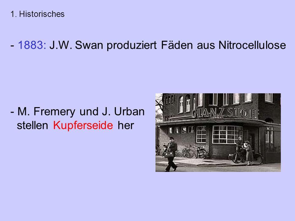- 1883: J.W.Swan produziert Fäden aus Nitrocellulose - M.