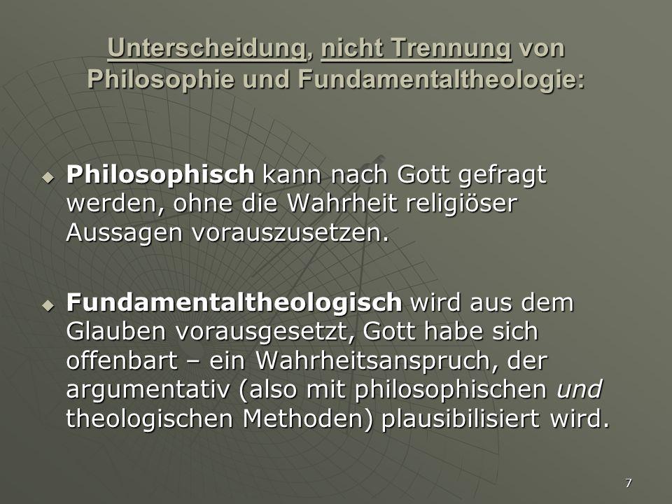 7 Unterscheidung, nicht Trennung von Philosophie und Fundamentaltheologie:  Philosophisch kann nach Gott gefragt werden, ohne die Wahrheit religiöser
