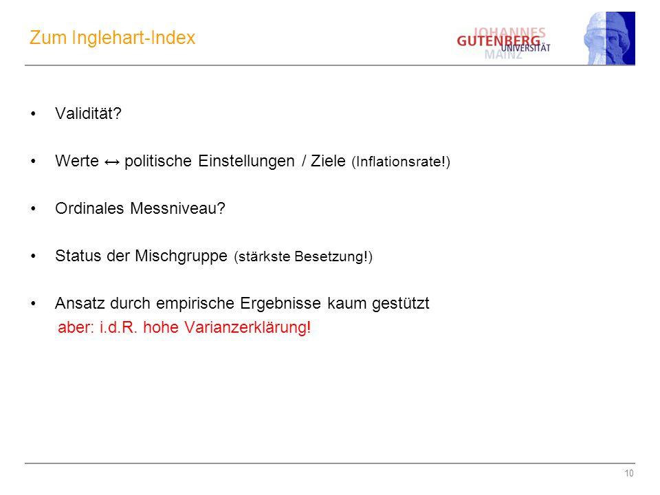 10 Zum Inglehart-Index Validität? Werte ↔ politische Einstellungen / Ziele (Inflationsrate!) Ordinales Messniveau? Status der Mischgruppe (stärkste Be