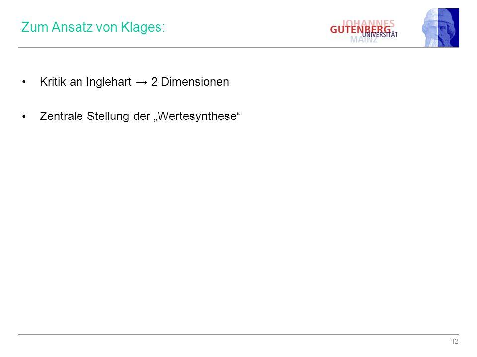 """12 Zum Ansatz von Klages: Kritik an Inglehart → 2 Dimensionen Zentrale Stellung der """"Wertesynthese"""""""