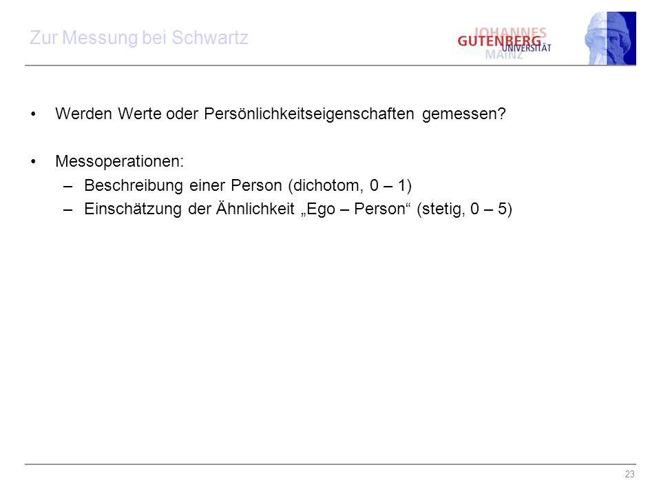 23 Zur Messung bei Schwartz Werden Werte oder Persönlichkeitseigenschaften gemessen? Messoperationen: –Beschreibung einer Person (dichotom, 0 – 1) –Ei