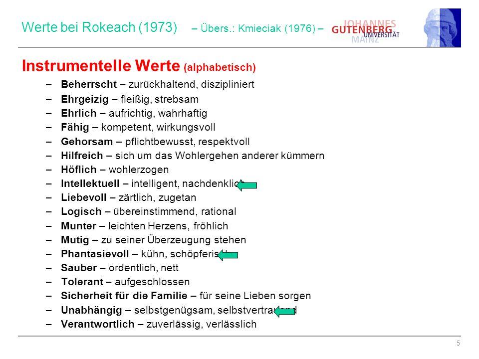 5 Werte bei Rokeach (1973) – Übers.: Kmieciak (1976) – Instrumentelle Werte (alphabetisch) –Beherrscht – zurückhaltend, diszipliniert –Ehrgeizig – fle