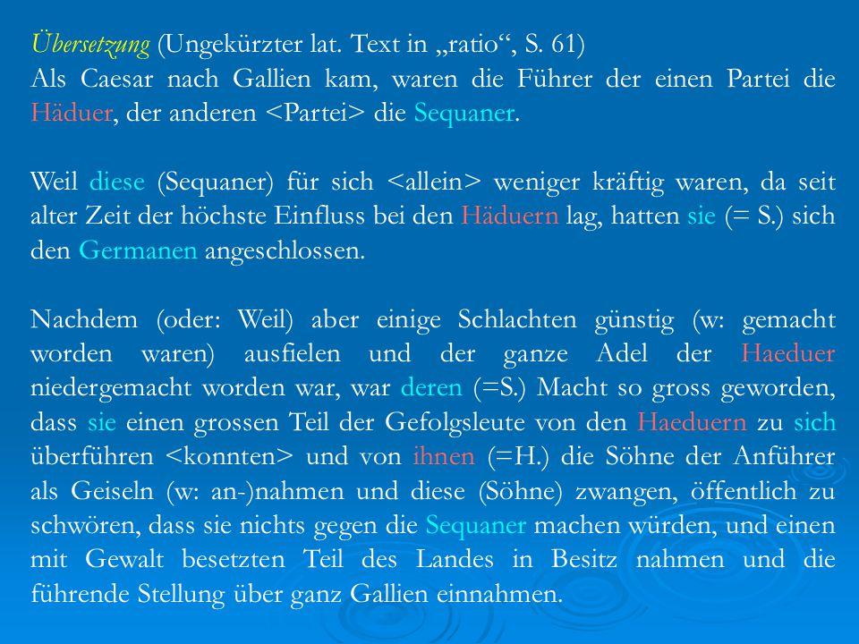 """Übersetzung (Ungekürzter lat.Text in """"ratio , S."""