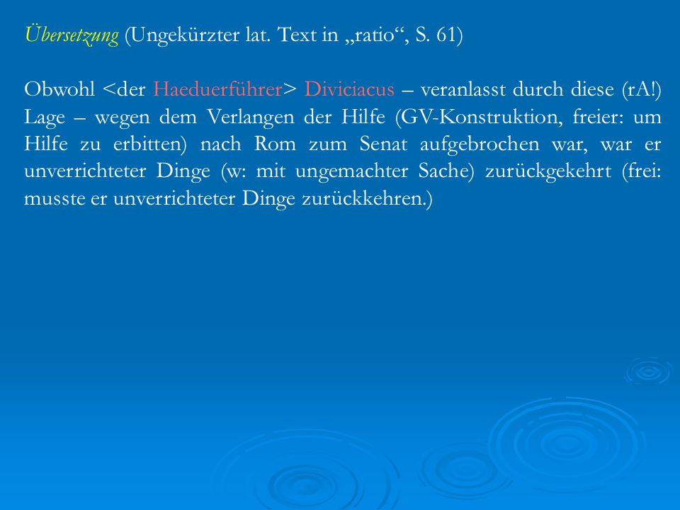 """Übersetzung (Ungekürzter lat. Text in """"ratio , S."""