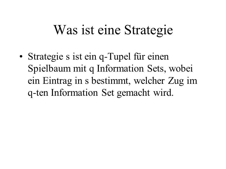 Was ist eine Strategie Strategie s ist ein q-Tupel für einen Spielbaum mit q Information Sets, wobei ein Eintrag in s bestimmt, welcher Zug im q-ten Information Set gemacht wird.