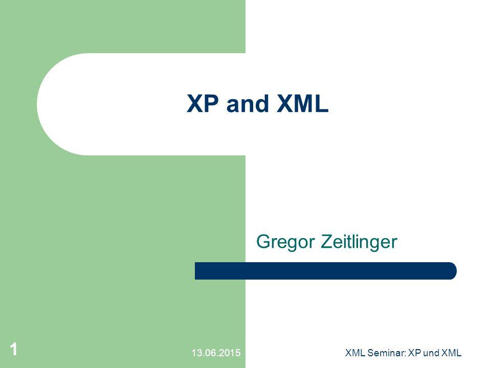 13.06.2015XML Seminar: XP und XML 1 XP and XML Gregor Zeitlinger