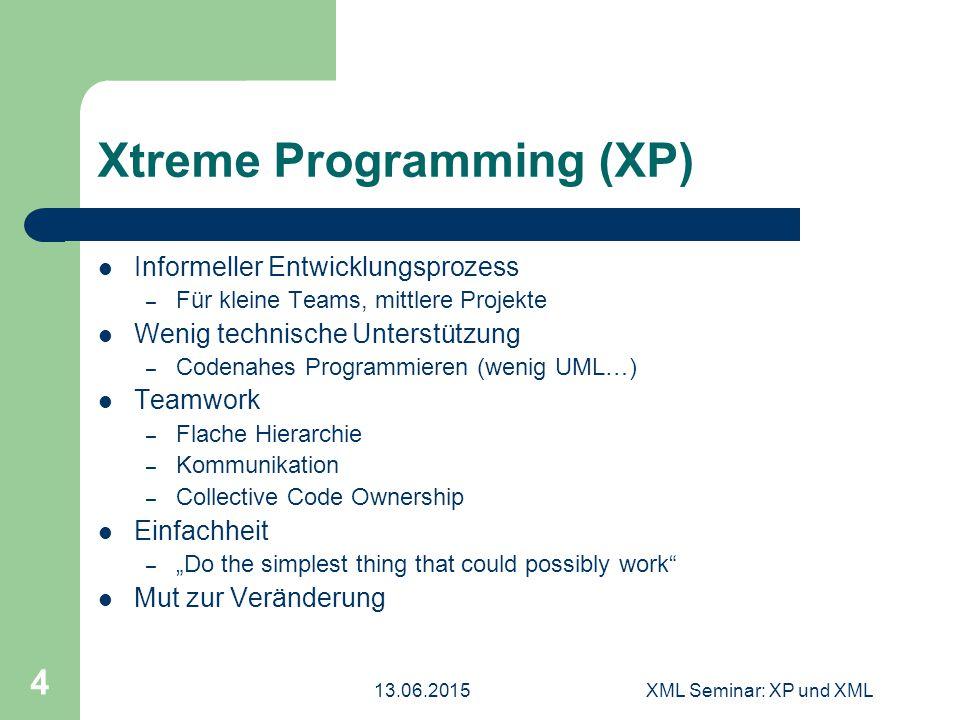 13.06.2015XML Seminar: XP und XML 4 Xtreme Programming (XP) Informeller Entwicklungsprozess – Für kleine Teams, mittlere Projekte Wenig technische Unt