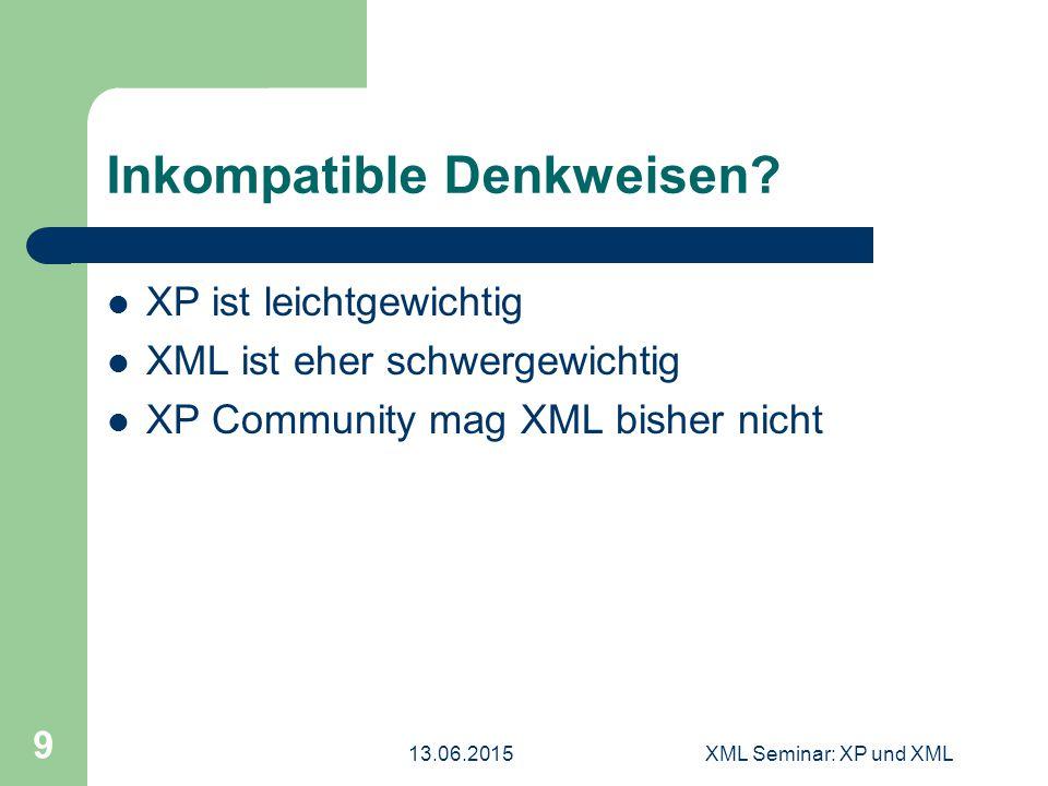 13.06.2015XML Seminar: XP und XML 9 Inkompatible Denkweisen? XP ist leichtgewichtig XML ist eher schwergewichtig XP Community mag XML bisher nicht