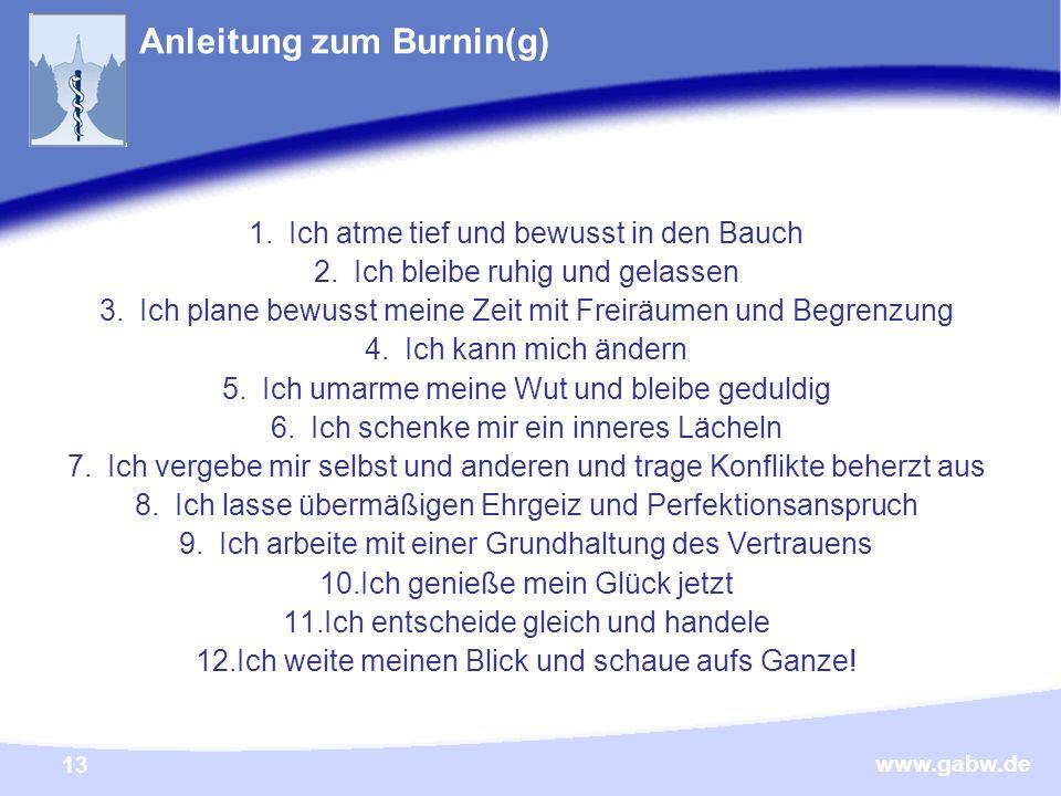 www.gabw.de 13 Anleitung zum Burnin(g) Tipps für Stress- und Burnout Prophylaxe 1.Ich atme tief und bewusst in den Bauch 2.Ich bleibe ruhig und gelassen 3.Ich plane bewusst meine Zeit mit Freiräumen und Begrenzung 4.Ich kann mich ändern 5.Ich umarme meine Wut und bleibe geduldig 6.Ich schenke mir ein inneres Lächeln 7.Ich vergebe mir selbst und anderen und trage Konflikte beherzt aus 8.Ich lasse übermäßigen Ehrgeiz und Perfektionsanspruch 9.Ich arbeite mit einer Grundhaltung des Vertrauens 10.Ich genieße mein Glück jetzt 11.Ich entscheide gleich und handele 12.Ich weite meinen Blick und schaue aufs Ganze!