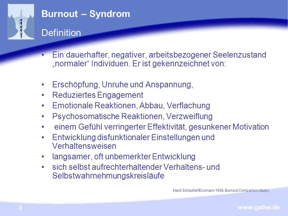 """www.gabw.de 3 Burnout – Syndrom Definition Ein dauerhafter, negativer, arbeitsbezogener Seelenzustand """"normaler Individuen."""