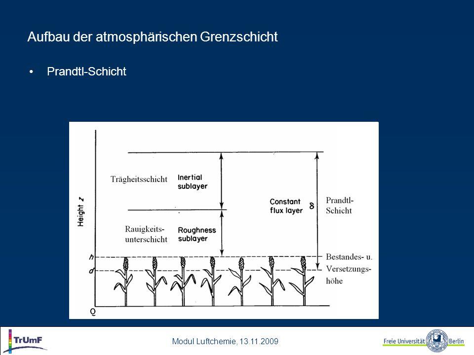 Modul Luftchemie, 13.11.2009 Aufbau der atmosphärischen Grenzschicht Prandtl-Schicht