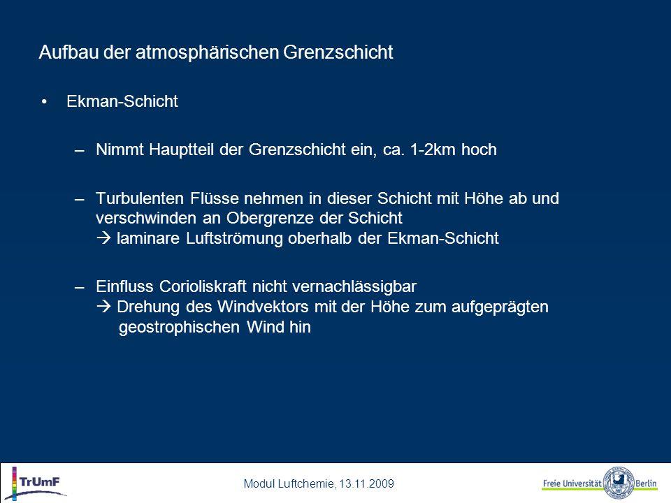 Modul Luftchemie, 13.11.2009 Aufbau der atmosphärischen Grenzschicht Ekman-Schicht –Nimmt Hauptteil der Grenzschicht ein, ca.