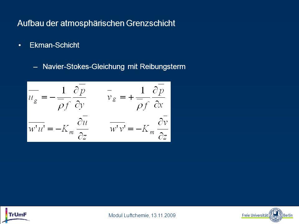 Modul Luftchemie, 13.11.2009 Aufbau der atmosphärischen Grenzschicht Ekman-Schicht –Navier-Stokes-Gleichung mit Reibungsterm
