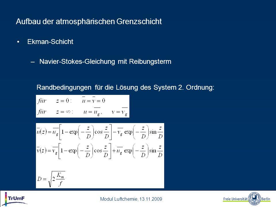 Modul Luftchemie, 13.11.2009 Aufbau der atmosphärischen Grenzschicht Ekman-Schicht –Navier-Stokes-Gleichung mit Reibungsterm Randbedingungen für die Lösung des System 2.