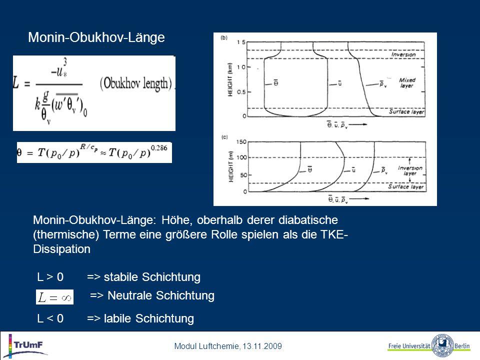Modul Luftchemie, 13.11.2009 Monin-Obukhov-Länge Monin-Obukhov-Länge: Höhe, oberhalb derer diabatische (thermische) Terme eine größere Rolle spielen als die TKE- Dissipation L > 0 => stabile Schichtung => Neutrale Schichtung L labile Schichtung