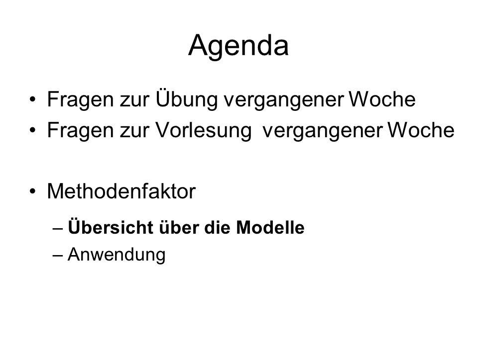 Agenda Fragen zur Übung vergangener Woche Fragen zur Vorlesung vergangener Woche Methodenfaktor –Übersicht über die Modelle –Anwendung