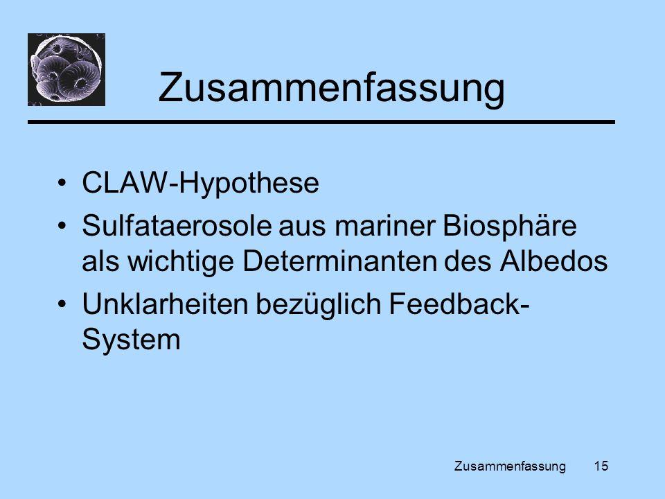 Zusammenfassung15 Zusammenfassung CLAW-Hypothese Sulfataerosole aus mariner Biosphäre als wichtige Determinanten des Albedos Unklarheiten bezüglich Feedback- System