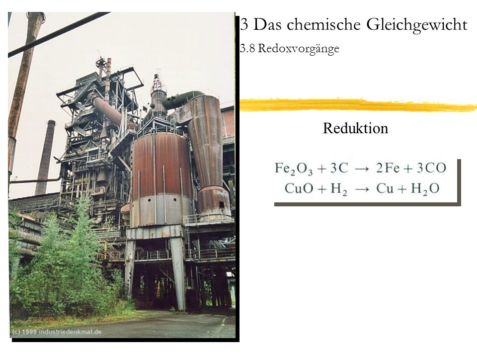 3 Das chemische Gleichgewicht 3.8 Redoxvorgänge Gleichgewichtslage bei Redoxprozessen