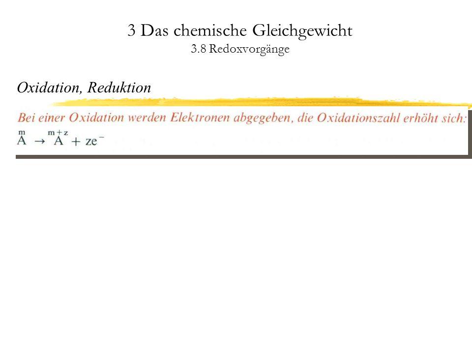 3 Das chemische Gleichgewicht 3.8 Redoxvorgänge Die elektrochemische Spannungsreihe Reaktionen von Metallen mit Säuren und Wasser Einige Metalle besitzen Standardpotentiale niedriger als -0,41 V, reagieren aber aufgrund einer schützenden Oxid- oder Hydroxidschicht nicht mit Wasser (Passivität).