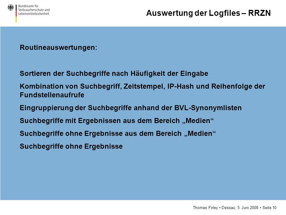 Thomas Firley Dessau, 5. Juni 2008 Seite 10 Routineauswertungen: Sortieren der Suchbegriffe nach Häufigkeit der Eingabe Kombination von Suchbegriff, Z