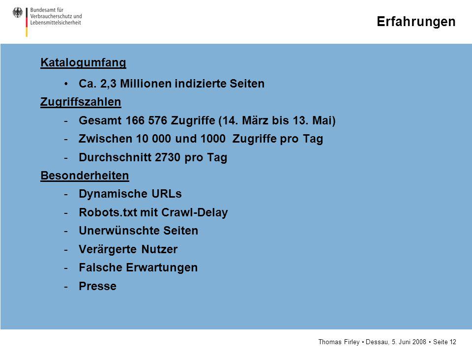 Thomas Firley Dessau, 5. Juni 2008 Seite 12 Erfahrungen Katalogumfang Ca. 2,3 Millionen indizierte Seiten Zugriffszahlen -Gesamt 166 576 Zugriffe (14.