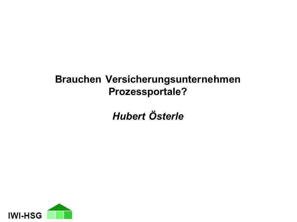 IWI-HSG Brauchen Versicherungsunternehmen Prozessportale? Hubert Österle