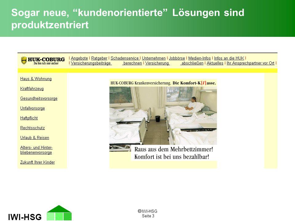 """ IWI-HSG Seite 3 IWI-HSG Sogar neue, """"kundenorientierte"""" Lösungen sind produktzentriert"""