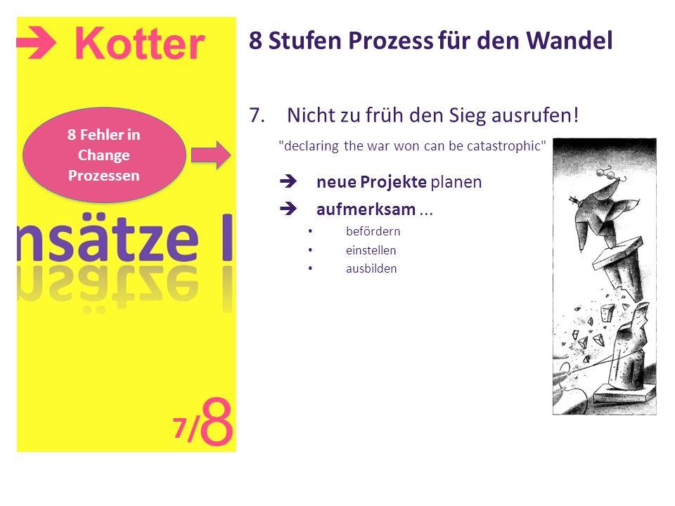  Kotter 8 8 Stufen Prozess für den Wandel 7.Nicht zu früh den Sieg ausrufen!