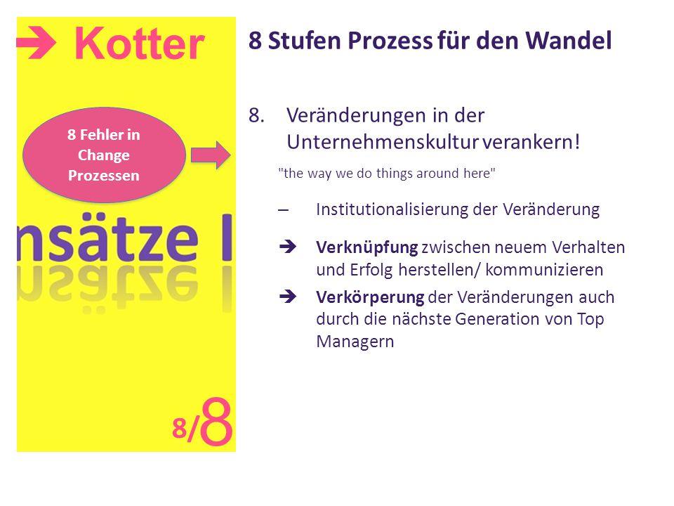  Kotter 8 8 Stufen Prozess für den Wandel 8.Veränderungen in der Unternehmenskultur verankern!