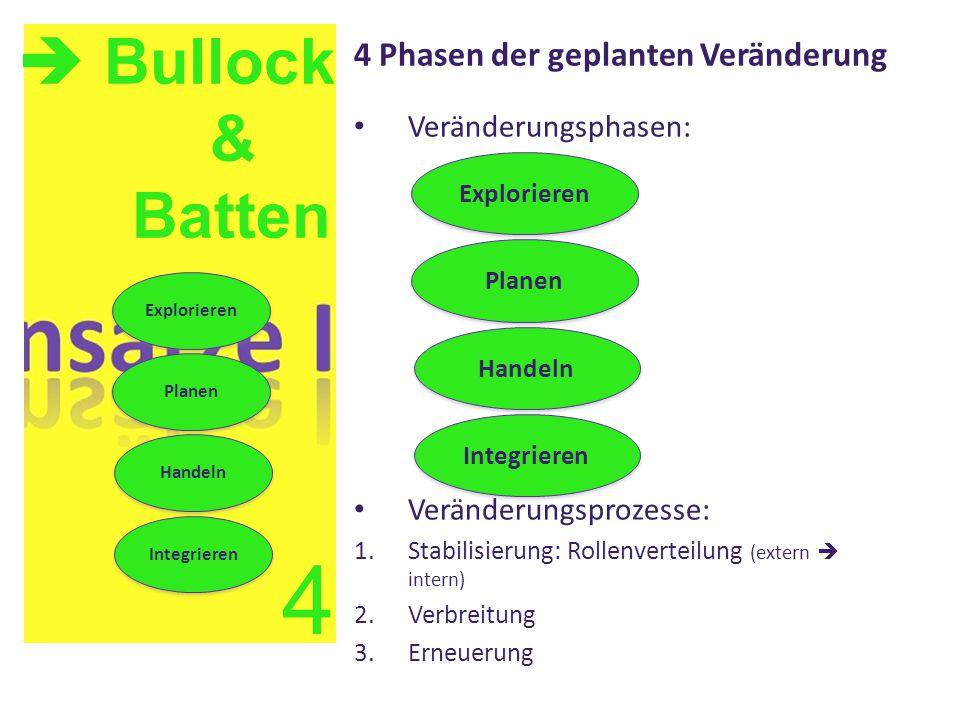 4 Phasen der geplanten Veränderung Veränderungsphasen: Veränderungsprozesse: 1.Stabilisierung: Rollenverteilung (extern  intern) 2.Verbreitung 3.Erne
