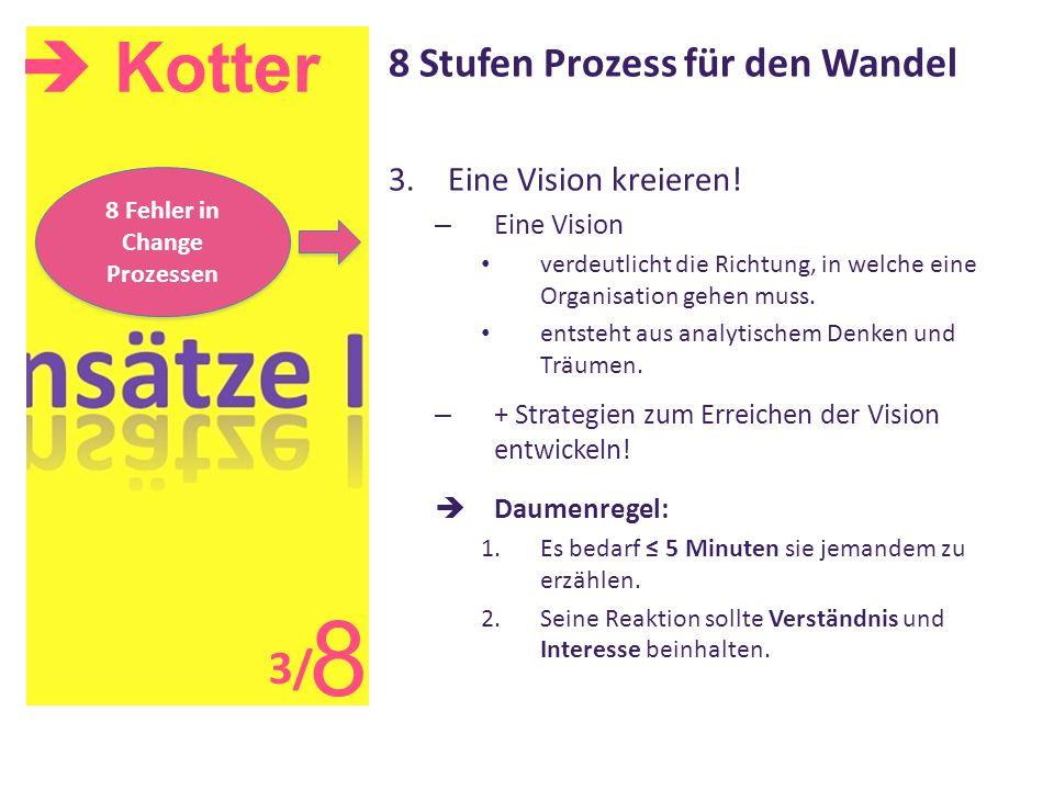  Kotter 8 8 Stufen Prozess für den Wandel 3.Eine Vision kreieren! – Eine Vision verdeutlicht die Richtung, in welche eine Organisation gehen muss. en
