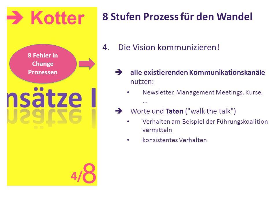  Kotter 8 8 Stufen Prozess für den Wandel 4.Die Vision kommunizieren!  alle existierenden Kommunikationskanäle nutzen: Newsletter, Management Meetin