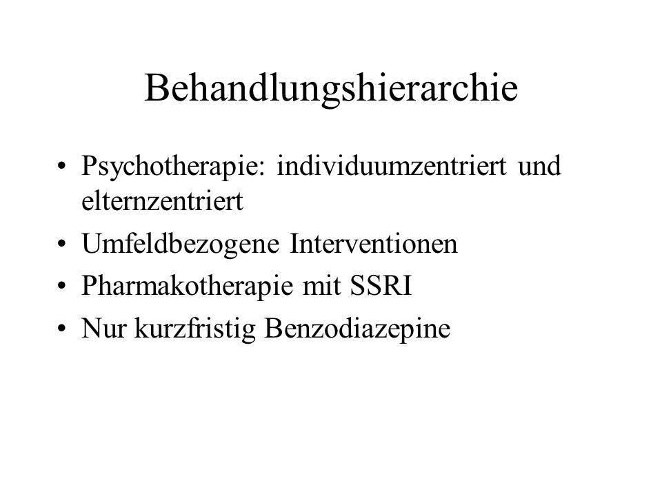 Behandlungshierarchie Psychotherapie: individuumzentriert und elternzentriert Umfeldbezogene Interventionen Pharmakotherapie mit SSRI Nur kurzfristig Benzodiazepine