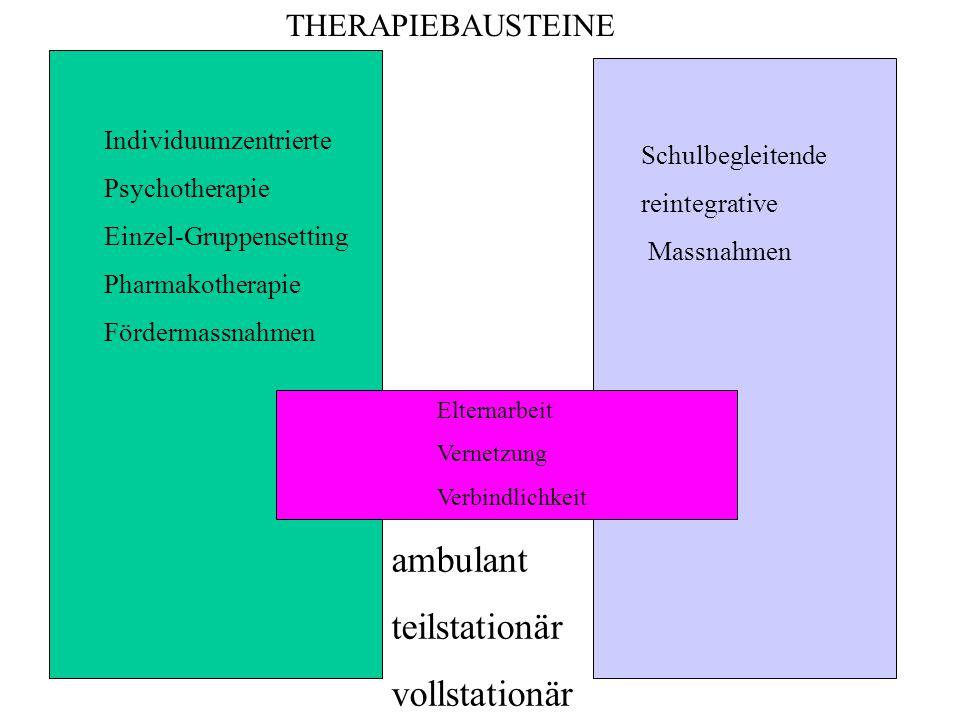 Individuumzentrierte Psychotherapie Einzel-Gruppensetting Pharmakotherapie Fördermassnahmen Schulbegleitende reintegrative Massnahmen Elternarbeit Vernetzung Verbindlichkeit ambulant teilstationär vollstationär THERAPIEBAUSTEINE