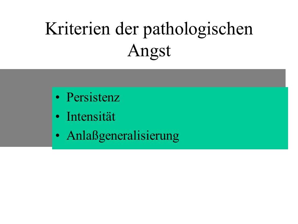 Kriterien der pathologischen Angst Persistenz Intensität Anlaßgeneralisierung